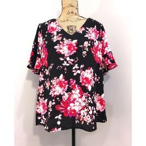 NWT Roz & Ali Black Floral Top Ruffle Sleeves